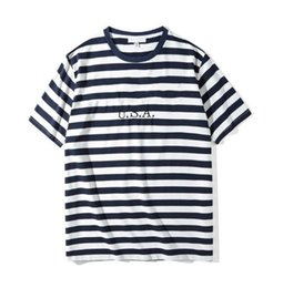 mens casual short sleeve t shirts Australia - Mens Designer Striped T Shirts Fashion Letter Embroidery Tees Casual Short Sleeved Crew Neck Tops Men Clothes