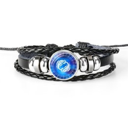 Bracelet Fashion Accessories Tungsten UK - New Fashion Leather Rope Beaded Bracelet Women Men Accessories Popular 12 Constellations Zodiac Pisces Time Gem Glass Cabochon Jewelry Gifts