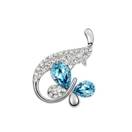 import fashion jewelry UK - Christmas Gifts High-end Fashion Accessories Jewelry Luxury Import Austrian Crystal Rhinestons Tail Butterflys Charm Brooches Pins For Women