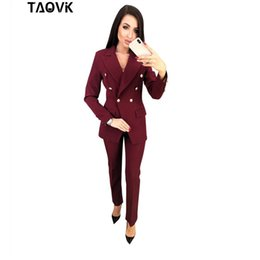 $enCountryForm.capitalKeyWord Australia - Taovk Ol Pant Suits Double-breasted Turn-down Collar Blazer Top+pants 2 Piece Outfits For Women Feminine Clothes Pantsuit Q190510