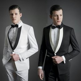 $enCountryForm.capitalKeyWord Australia - Stand Collor White Men Suits for Wedding Suits Man Prom Black Jacket Groom Tuxedo Traje Hombre Costume Homme 2Piece Slim Fit Terno Masculino