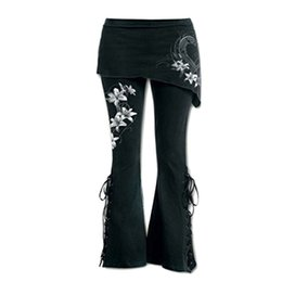 embroidered leggings UK - Women Black Embroidered Casual Bandage Flares Punk Lace Up Bell Bottom Leggings T3190605