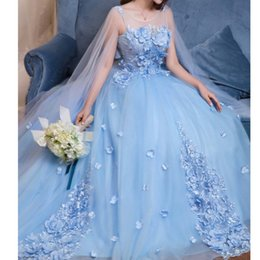 dress cloaks Canada - Princess Sky Blue 3D Flower Evening Dresses With tulle Cloak Lace Beaded Lush Ball Gowns Saudi Arabic Floral Evening Gowns