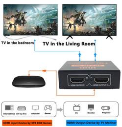 $enCountryForm.capitalKeyWord Australia - Wholesale HDMI cable 4K*2K 1080p 3D HDMI Splitter 1 TO 2 High Quality Full HD 1x2 Port black Square shape Iron clad material free shipping