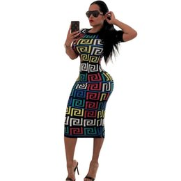 Wholesale sexy night apparel resale online - Summer Women Vintage Dresses Night Club CasualClothing Fashion Short Sleeve Sexy Slim Apparel Pencil Dresses Knee Length