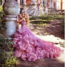 $enCountryForm.capitalKeyWord Australia - Luxury Pregnant Bridal Gown Fluffy Cloud Long Train Crystal Wedding Dress Burgundy Cloud 2019 Wedding Dresses