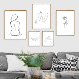AbstrAct women figure online shopping - Sexy Woman Body Line Drawing Prints Poster Human Figure Kiss Rose Flower Canvas Painting Picture Print Girl s Room Decoration