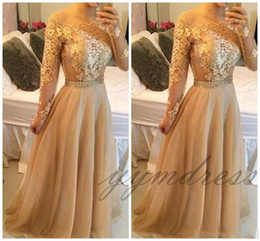 Gold Lace Peplum Dress Australia - 2019 Modest Long Sleeves Arabic Formal Evening Dresses With Gold Lace Chiffon Plus Size Vestidos De Novia Prom Special Occasion Gowns