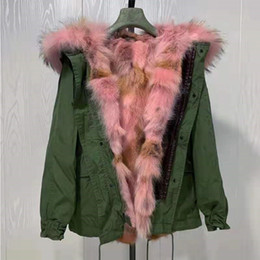 pink fur parka Australia - Pink raccoon fur trim Mukla fur brand women snow coats pink brown coyote fur Lining army green canvas mini parka