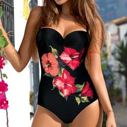 Xxl Swimsuit Women Australia - Sexy One Piece Swimsuit Closed Large Size Print Swimwear Women Flower Push Up Swimsuits Body Female Beach Bathing Suit Xxl Q190513
