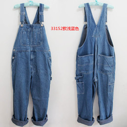 Discount light wash overalls - Loose Pants Mens Denim Trousers Overalls Jeans Washed Work Mens Summer Jumpsuits C1