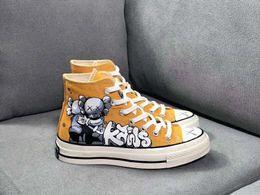 $enCountryForm.capitalKeyWord Australia - 2019Hot sale 1970 Sesame Street joint name Skateboard KAWS high canvas shoes hand-painted graffiti yellow men and women shoes sports shoes