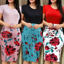 Summer Career Dresses Australia - Womens Summer Floral Printed Ruffles Neck OL Pencil Wear To Work Office Career Dress