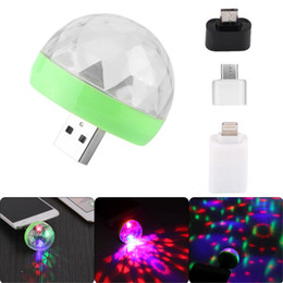 Discount disco crystal balls - Mini USB led Party Lights Portable Crystal Magic Ball Home Party Karaoke Decorations 4W RGB Stage LED Disco Light