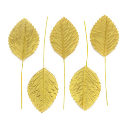 gold leaves Canada - 36pcs 11cm Nylon Silk Leaf Gold Leaves Artificial Flower For Wedding Decoration DIY Wreath Gift Scrapbooking Craft Fake Flower