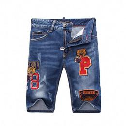Legging punk styLe online shopping - Summer Fashion Mens Jeans Shorts Dark Blue Color Korean Punk Style Embroidery Ripped Short Jeans Men Elastic Denim Shorts Q6