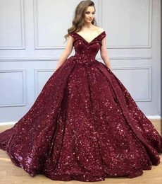 Vintage black eVening gown online shopping - Sparkly Burgundy Sequined Off Shoulder Quinceanera Prom Dresses V Neck Sequins Ball Gown Evening Party Gowns