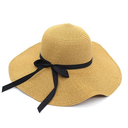 Black Blocks Australia - Summer Straw Hat Women Big Wide Brim Beach Hat Sun Foldable Sun Block UV Protection Panama Bone Chapeu Feminino