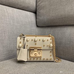 decoration pearls bag Canada - Ladies new handbags high-end custom quality designer cross body bag pearl rivet decoration fashion trend style