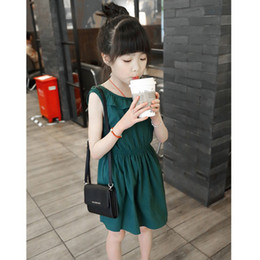 $enCountryForm.capitalKeyWord Australia - Girls summer green dresses kids sleeveless cotton Backless bow princess dress baby party beautiful clothes children 2-7 Years