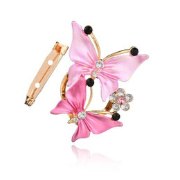 Indian Scarfs Australia - Luxurious Gold Color Crystal Butterfly Scarf Clip Rhinestone Brooches For Women Pin Wedding b177