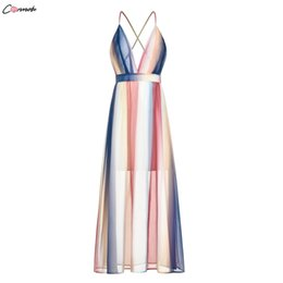 $enCountryForm.capitalKeyWord Australia - Conmoto Sexy Stripe Contrast Color Long Women Summer Holiday Party Backless Strap Chiffon Dress Plus Size Q190511