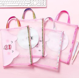 $enCountryForm.capitalKeyWord NZ - cute cartoons pink laser pigs file holder portable zipper nylon mesh document bags office school supplies