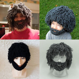 $enCountryForm.capitalKeyWord Australia - Fun Handmade Hairy Wig Beard Caveman Winter Hats Warm Hobo Wild Cute Caps Gifts