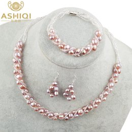 $enCountryForm.capitalKeyWord Australia - Ashiqi Natural Freshwater Pearl Jewelry Sets & More Hand-knitted Necklace Bracelet Earrings For Women Ne+br+ea J190628