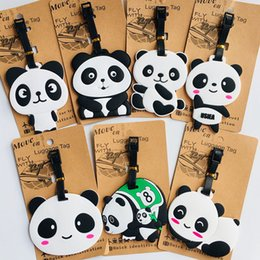 Key Luggage Australia - Cartoon animal panda PVC key chain cute funny personalized soft rubber luggage tag boarding pass bag tags hanging ornaments bags
