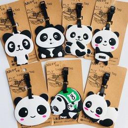 $enCountryForm.capitalKeyWord Australia - Cartoon animal panda PVC key chain cute funny personalized soft rubber luggage tag boarding pass bag tags hanging ornaments bags