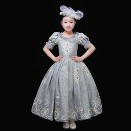 Blue Hair Costumes Australia - 100%real children's girls luxury grey blue embroidery lace ruffled sleeve baroque stage costume renaissance gown dress with hair decoration