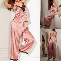 Wholesale hot pajamas for women for sale – plus size 2019 Hot Sexy Lingerie Nightwear Silky Comfortable Satin Pajamas For Women Lace Top Pants Pajamas Silk Pajamas Longs Set SW10