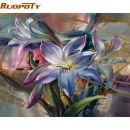 art painting purple flowers oils NZ - RUOPOTY Frame Purple Flower DIY Painting By Number Home Wall Art Picture Handpainted Abstract Oil Painting For Home Wall Artwork SH190918