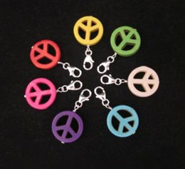 $enCountryForm.capitalKeyWord Australia - Mixed Color Symbol Stone Clip On Peace Sign Charms Pendants For Bracelets Keychain Fashion Jewelry Findings Accessories DIY Gifts NEW