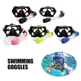 Swim Glasses Anti Fog Australia - Snorkel Set Anti Fog Film Diving Mask Tempered Glass Goggle Dry Top Snorkel for Swimming Snorkeling