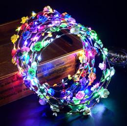 $enCountryForm.capitalKeyWord Australia - Hot Flashing LED Glow Flower Crown Headbands Light Party Rave Floral Hair Garland Wreath Wedding Flower Girl Headpiece decor 30pcs