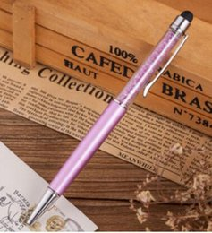 $enCountryForm.capitalKeyWord Australia - 5 Pcs lot Cute Crystal Pen Diamond Ballpoint Pens Stationery Ballpen 2 In 1 Crystal Stylus Pen Touch Free Shipping