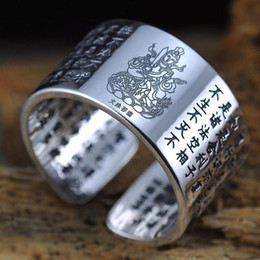 matching heart rings NZ - Rings 999 Sterling Silver Sanskrit Buddhist Mantra Ring Match 12 Zodiac Engraved Heart Sutra Rings For Lovers Couple Opening Type