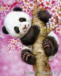 Figure Cut Australia - 40x50cm muzzle oil painting on canvas wall painting Coloring by numbers with a cute panda hand-drawn Figure decoration