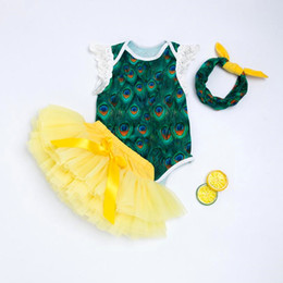 halloween costumes for kids babies NZ - Halloween Baby Clothing Set Sleeveless Peacock Baby Rompers Tutu Skirt Lace Headband Cute Girls Baby Party Costume For Kids J190526