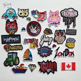 Owl badge online shopping - 100PCS Mix Embroidery Patches for Clothing Iron on Clothes Bag Appliques Owl Letter National flag Badge Stripes Clothes Stickers
