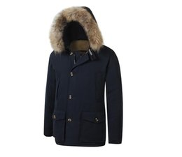 outdoor parka UK - 2020 New Woolrich Removeable Raccoon Fur Mens Arctic Down Parka Warm JACKET thick outdoor Winter Coat