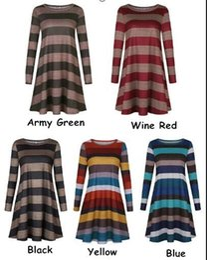 long lining supplies 2019 - Hot Ladies Fashion Loose Striped Print A-Line Short Mini Dress Womens Long Sleeved Fall Dresses supply