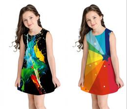 Colorful Girl Painting Australia - Kids Sleeveless Cartoon Lovely Dresses Girls 3D Digital Colorful Oil Painting Printing A-line Girl Dress