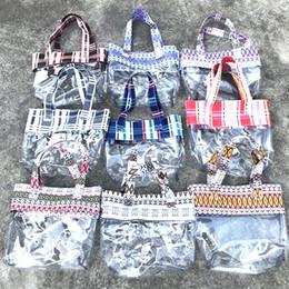 ToTe bags online shopping - 9styles Transparent pvc handbag plaid printed shopping clear bag summer beach swimming storage bag outdoor travel hangbag FFA2241