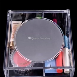 crystal clear plastic storage boxes Australia - Fashion Square 2 space Transparent Crystal Storage Box makeup Organizer Cosmetic Acrylic Clear Jewelry Display Case with Mirror bb608-615