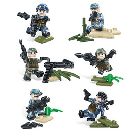 air block Australia - 6pcs Lot Wilderness Special Training Marine Army Air Force Military Special Force Figure with Weapon Building Blocks Bricks Toy For Boy