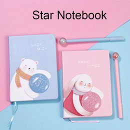 Pink Stationery Set Australia - Star Rabbit Notebook,Ins Pink Girl Heart,Cartoon Bear Set Pens,Lovely Stationery,Simple Design,School Supplies,