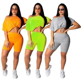 Discount cycling sexy - Women clothes 2 piece shorts set sportswear womens tracksuits sportsuit sweatshirt loose sexy crop top short legging pul